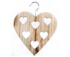 Stampella appendi-sciarpe in legno a forma di cuore (Taglia unica) (Beige)