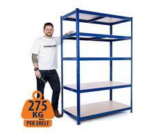 Heavy Duty Steel scaffali scaffalature garage 275 kg per ripiano (5 livelli 1800 mm H x 1200 mm W x 600 mm D) + colore consegna il giorno successivo