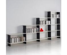 Étagère escalier NIKKA Bibliothèque de rangement blanc mueble TV da salon Flancs BLANC cm. 360 x 176 h x 30