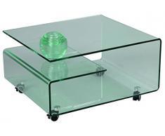 Table basse en verre, L.80 X l.70 X Ht.39.8 cm -PEGANE-