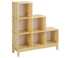 Etagère escalier bibliothèque LOGO, 6 casiers pin massif vernis naturel
