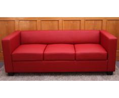 Canapé de 3 places salon en cuir Lille, coloris rouge, P75 x L191 x H70 cm