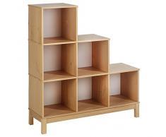 Etagère escalier bibliothèque LOGO, 6 casiers pin massif lasuré couleur hêtre