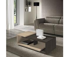 Table basse coloris Chêne foncé / Chêne clair, L110 x H34 x 55 cm ( Livré Monté ) -PEGANE-