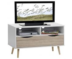 Meuble TV étagères et tiroir GENOVA, MDF décor blanc chêne sonoma