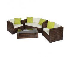 TecTake Salon de Jardin Résine Tressée Poly Rotin Aluminium brun noir + 4 oreillers supplémentaires