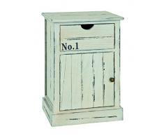 Commode Heike en bois massif blanche, L38 x H58 x P28 cm -PEGANE-