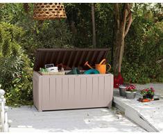 KETER Chalet et jardin - 12-666071 Coffre de Rangement avec Assise pour le Jardin Polypropylène - Beige/Taupe