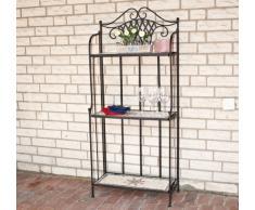 Siena Garden 875328 Stella Etagère 3 Planches Acier Noir Aspect Mosaïque
