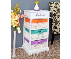 Petite commode du style campagnard Table de chevet en blanc avec trois paniers colorés en vert, orange et pourpre