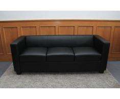Canapé de 3 places salon en cuir Lille, coloris noir, H70 x L191 x P75 cm -PEGANE-
