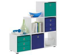 Bibliothèque escalier avec 6 cases coloris blanc, L 104,5 X H 108 X P 33 cm -PEGANE-