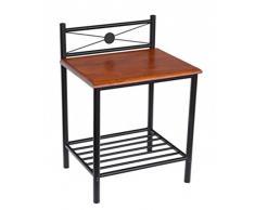 PEGANE Table de Chevet ST58 en Bois Brun et Pieds en métal Noir, Dim: H64 x L45 x P35 cm