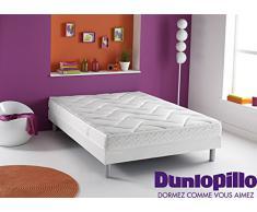 Dunlopillo 1055741 Ensemble Matelas Rêve + Sommier Dunlosom + Pieds Cylindrique Coloris Aluminium 190 x 140 x 31 cm