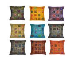 Indian Décor Vintage Accueil Coussin coton couvrir avec la broderie et de patchwork, 41 x 41 cm, 10 pièces Lot