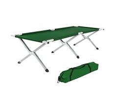 TecTake Lit de camp pliable XL alu 150kg lit d'ami camping jardin pliant + poche VERT