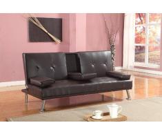 Comfy Living Canapé-lit Futon de Style cinéma avec porte-gobelet en cuir synthétique Marron chocolat