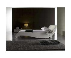 JUSThome Macao Blanc Lit rembourré en cuir écologique Taille : 180 x 200 cm