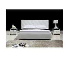 JUSThome Ostia Blanc Lit rembourré en cuir écologique Taille : 200 x 200 cm