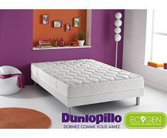 Dunlopillo Ensemble Matelas Ecogen + Sommier Dunlosom + Pieds Cylindrique Coloris Aluminium 190 x 140 cm