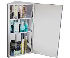 Armoire miroir rangement toilette salle de bain meuble mural d'angle acier inoxydable 60x30x18,4cm neuf 51