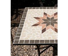 Siena Garden 875352 Stella Table Acier Noir/Aspect Mosaïque 64 x 64 cm