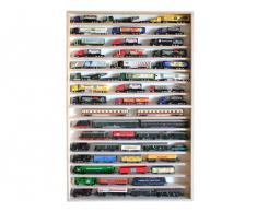 V81 - Vitrine murale 70 cm x 115 cm x 6 cm collection miniature collecteur tableau d'affichage train pion petit objet jouet enfant vitres en plexiglas clair meuble rangement étagère armoire bois nature