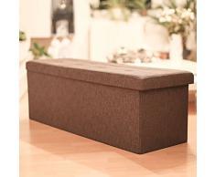 Relaxdays 10019049_93 Banc Pliable Pliant Coffre Rangement avec Couvercle Tissu Gris/Marron 114,0 x 38,0 x 38,0 cm