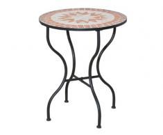 Siena Garden 660007 Finca Table Acier Noir/Aspect Mosaïque 70 cm