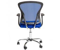 TecTake Chaise fauteuil de bureau de maille pivotant Siège confortable office bleu neuf