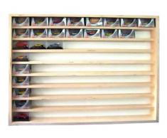 V08- Vitrine murale 72 cm x 55 cm x 7,5 cm collection miniature collecteur affichage pion petit article vitres en plexiglas clair meuble rangement étagère armoire bois nature