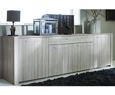 Enfilade 4 portes et 1 tiroir, Coloris chène shannon/beton clair, 215.8 x 81.4 x 42.3 cm -PEGANE-
