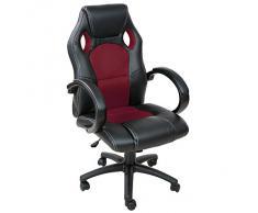 TecTake Chaise fauteuil siège de bureau hauteur réglable sportive - diverses couleurs au choix - (Bordeaux)