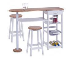 Zeller 13776 Bar de cuisine avec 2 tabourets Panneau de fibres à densité moyenne Blanc/bambou Table 118 x 38 x 89 cm/Tabouret 29 x 29 x 54 cm