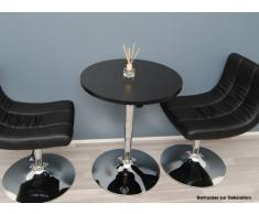 Ts-ideen Table de bar MDF Chromé/noir 60 x 69 cm