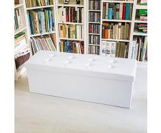 Relaxdays Pouf de rangement siège coffre de rangement Banc pliant pliable similicuir 114 x 38 x 38 cm, blanc