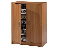 Armoire à chaussures ADEL avec 2 portes et 6 étagères (30 paires), coloris châtaignier clair, 101 x 75 x 36 cm -PEGANE-