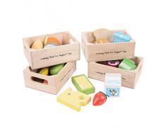 Bigjigs Toys BJ316 Aliments Jouets En Bois Lot de Produits Laitiers Alimentation Saine