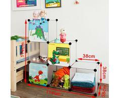 SoBuy FSS11, DIY 6 cubes, étagère de rangement modulable plastique, bibliothèque pour enfant, Cadre en métal, Armoire
