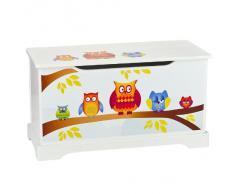 Coffre à jouets en bois motif de Hiboux, récipient pour les jouets, banc avec rangement