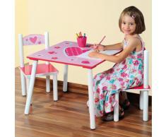 Kesper 17722 Coeur Table d'Enfant avec 2 Chaises Bois Multicolore 30 x 30 x 15 cm