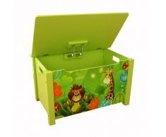 Coffre à jouets en bois motif de jungle vert -PEGANE-