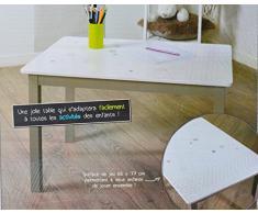 Table en bois pour enfant - Taupe et blanche
