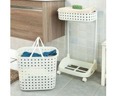SoBuy® FRG30-W Panier à linge roulant Rangement salle de bain /cuisine Chariot à linge Porte vêtement pour laverie