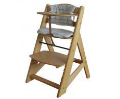 Chaise Haute en bois Ajustable Chaise bébé Escalier chaise haute NATURE HC2533-D01 Creme