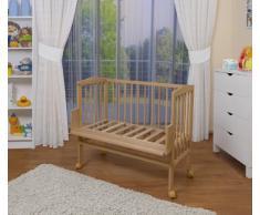 WALDIN Lit cododo pour bébé/berceau - hauteur réglable - bois naturel ou blanc laqué,non traité,Surface de couchage extra large : L 90 x l 55