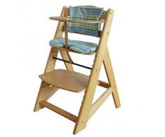Chaise Haute en bois Ajustable Chaise bébé Escalier chaise haute NATURE HC2533-D01 G