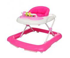 Trotteur balancelle pour bébé avec tablette rosée
