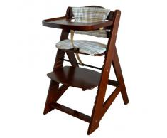 Chaise Haute en bois Ajustable Chaise bébé Escalier chaise haute BRUN HC6551-D02creme