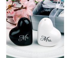 Salière et Poivrière Mr. et Mrs. en Céramique pour Faveurs de Mariage - Blanc et Noir